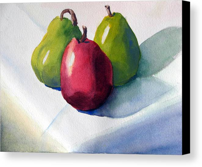 Pears Canvas Print featuring the painting Three Pear by Libby Cagle