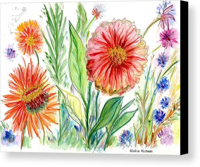 Flowers Nature Botany Drawing Julie Richman Flora Pencil Canvas Print featuring the painting Three Red Flowers 53 by Julie Richman