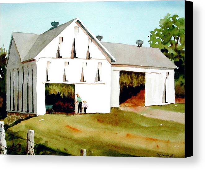 Tobacco Canvas Print featuring the painting Tobacco Barn by Faye Ziegler