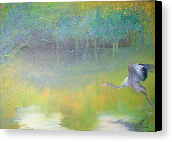 Landscape Canvas Print featuring the painting Tranquil by Tinsu Kasai