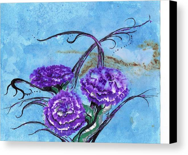 Flowers Canvas Print featuring the painting Tri Flower Bleau by Mikel Zuiderveen