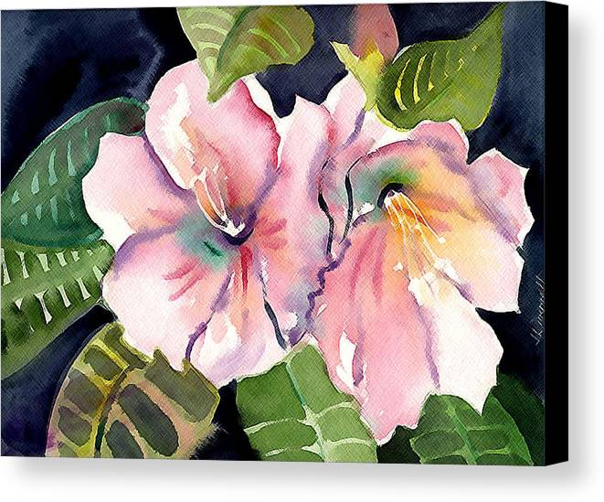 Tropical Canvas Print featuring the painting Tropical Flowers by Janet Doggett