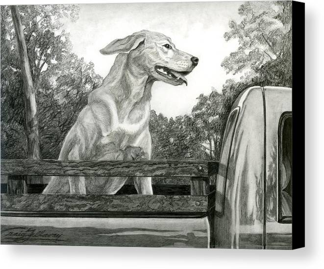 Dog Canvas Print featuring the painting Truck Queen Study by Craig Gallaway