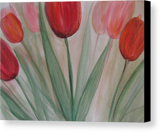 Tulips Canvas Print featuring the painting Tulip Series 4 by Anita Burgermeister