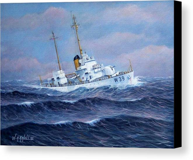 Marine Art Canvas Print featuring the painting U. S. Coast Guard Cutter Owasco by William H RaVell III