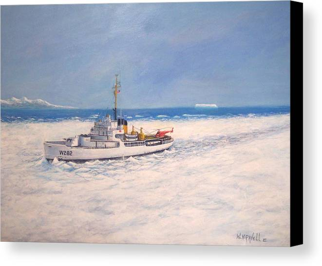Ships Canvas Print featuring the painting U. S. Coast Guard Icebreaker Northwind by William H RaVell III