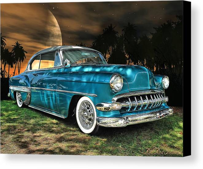 1954 Canvas Print featuring the digital art Underneath The Surrounding Glow Of The Moon .... by Rat Rod Studios