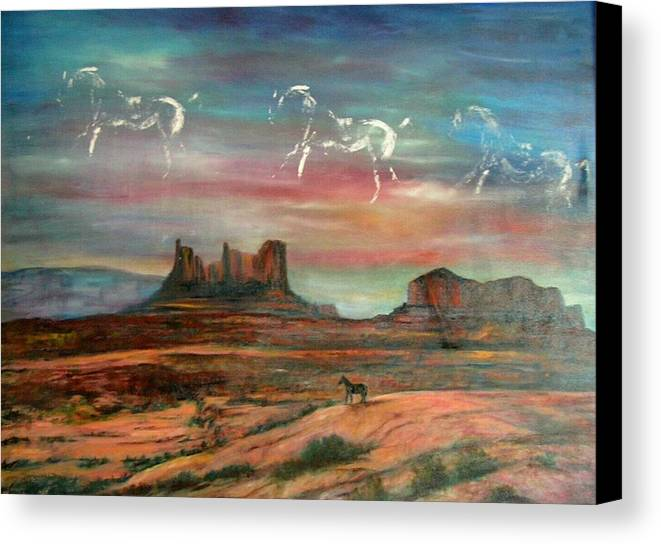 Landscape Canvas Print featuring the painting Valley Of The Horses by Darla Joy Johnson
