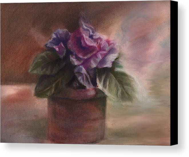 Flowers Canvas Print featuring the pastel Violets by Patricia Halstead