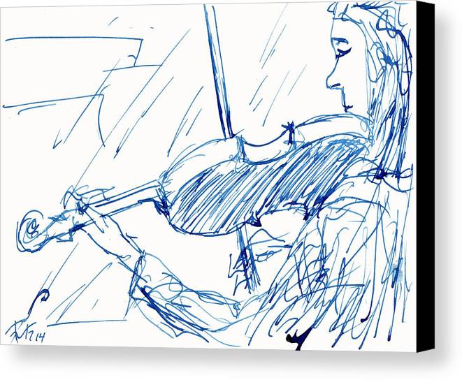 Violinist Canvas Print featuring the painting Violinist In Blue by Ruth Gonzalez