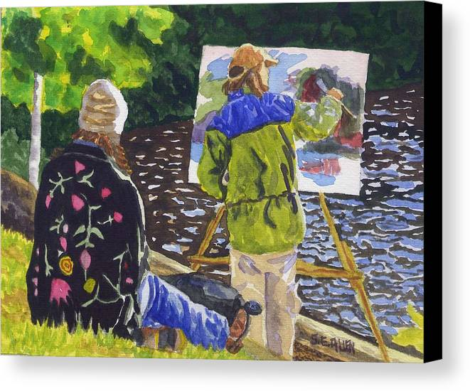 Artist Canvas Print featuring the painting Watching The Maestro by Sharon E Allen