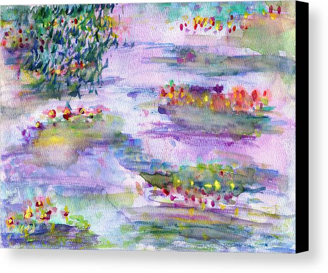 Nature Canvas Print featuring the painting Water Lilies by Janpen Sherwood