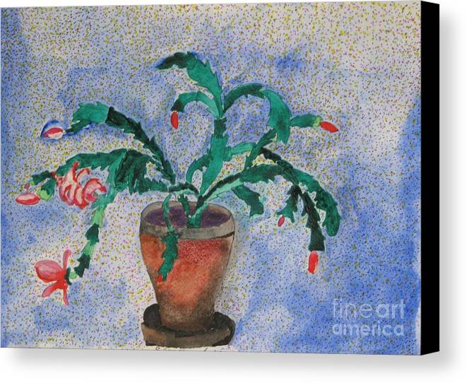 Christmas Canvas Print featuring the mixed media Watercolor Christmas Cactus First Bloom by James SheppardIII