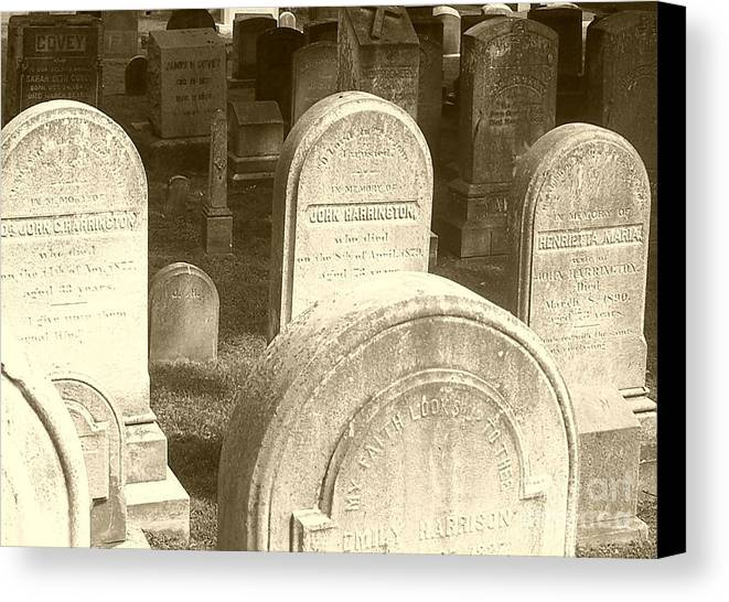 Cemetery Canvas Print featuring the photograph Welcome by Debbi Granruth