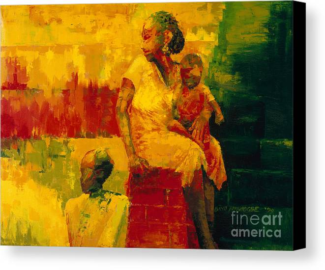 What Is It Ma? 1994 (oil On Board) By Bayo Iribhogbe (contemporary Artist) Canvas Print featuring the painting What Is It Ma by Bayo Iribhogbe