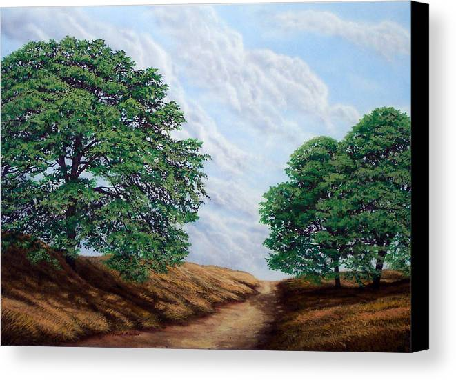 Landscape Canvas Print featuring the painting Windblown Clouds by Frank Wilson
