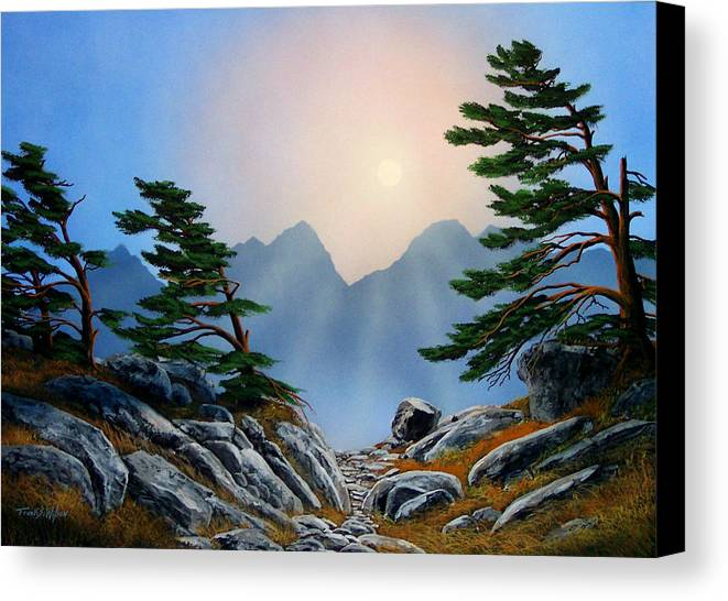 Windblown Pines Canvas Print featuring the painting Windblown Pines by Frank Wilson