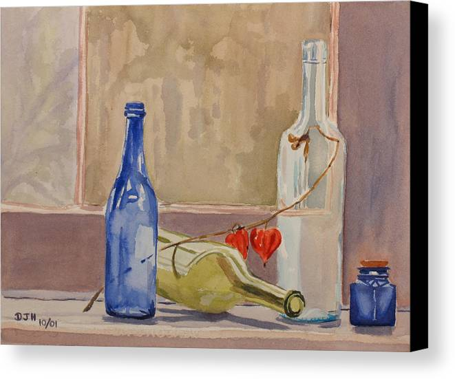 Wine Canvas Print featuring the painting Wine Bottles On Shelf by Debbie Homewood
