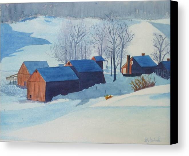 Winter Canvas Print featuring the painting Winter Farm by Ally Benbrook