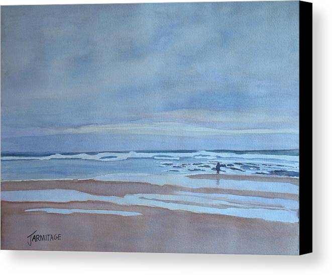 Ocean Canvas Print featuring the painting Winter Morning Solitude by Jenny Armitage