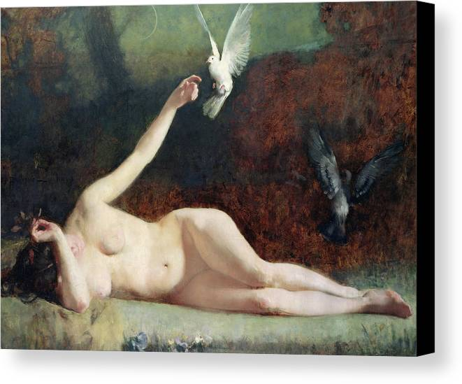 Woman With Pigeons Canvas Print featuring the painting Woman With Pigeons by Ernst Philippe Zacharie