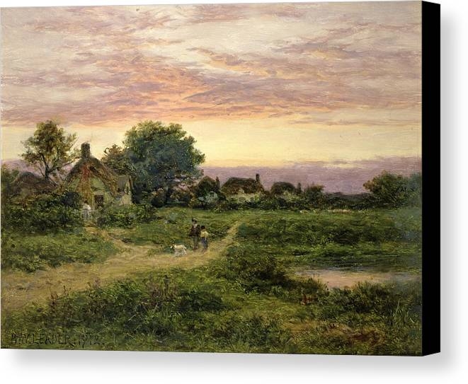 Worcestershire Canvas Print featuring the painting Worcestershire Cottages by Benjamin William Leader