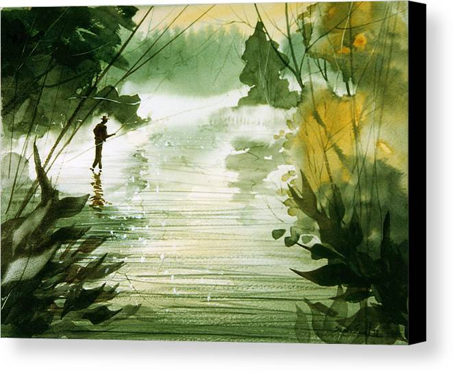 Fisherman Canvas Print featuring the painting Yellow Dog River by Sean Seal