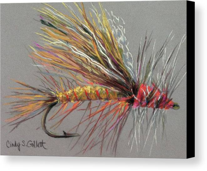 Still Life Canvas Print featuring the painting Yellow Sally Stonefly by Cindy Gillett