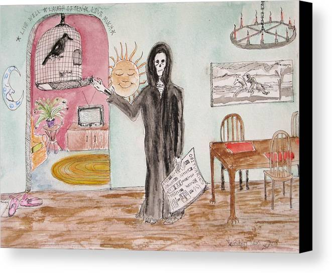 Bird Birdcage Darkestartist Death Home Humor Ink Watercolor Watercolour Darkest Artist Canvas Print featuring the painting Yesterdays News by Darkest Artist