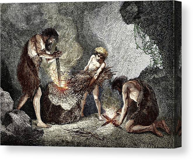 Human Canvas Print featuring the photograph Early Humans Making Fire by Sheila Terry