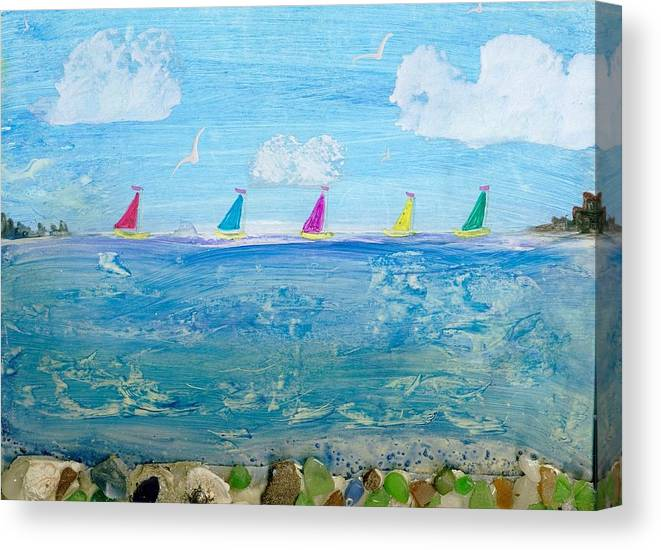 Encaustic Canvas Print featuring the mixed media Sailing Away by Trish Tinsley