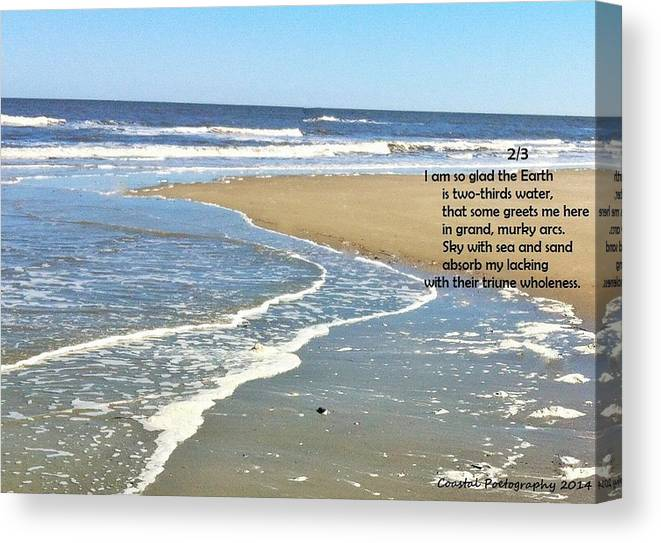 Ocean Sea Water Sand Sky Peace Wholeness Completeness Waves Canvas Print featuring the photograph 2/3 by Catherine Favole-Gruber