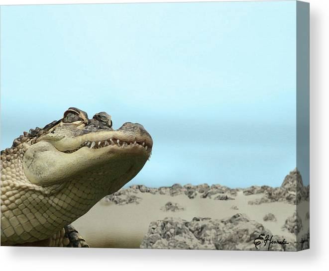 See You Later Canvas Print featuring the painting See You Later Alligator by Ellen Henneke