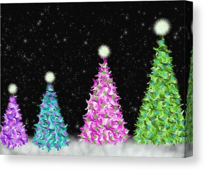 Colorful Canvas Print featuring the digital art 4 Christmas Trees by Debra Congi