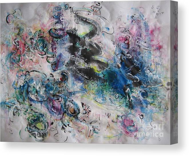 Abstract Flower Field Painting Blue Pink Green Purple Black Landscape Painting Modern Acrylic Pastel Canvas Print