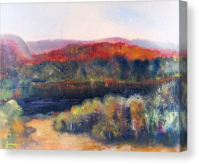 Autumn Vista Canvas Print featuring the painting Autumn Vista by Janet Gunderson