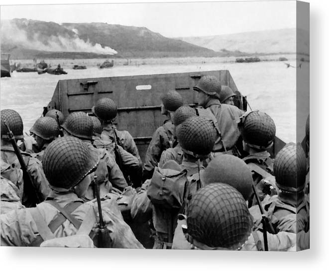 D Day Canvas Print featuring the painting D-day Soldiers In A Higgins Boat by War Is Hell Store