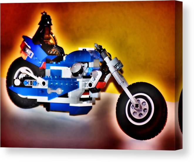 Hdr Canvas Print featuring the photograph Darth Vader Rides A Harley Hdr by Thomas MacPherson Jr