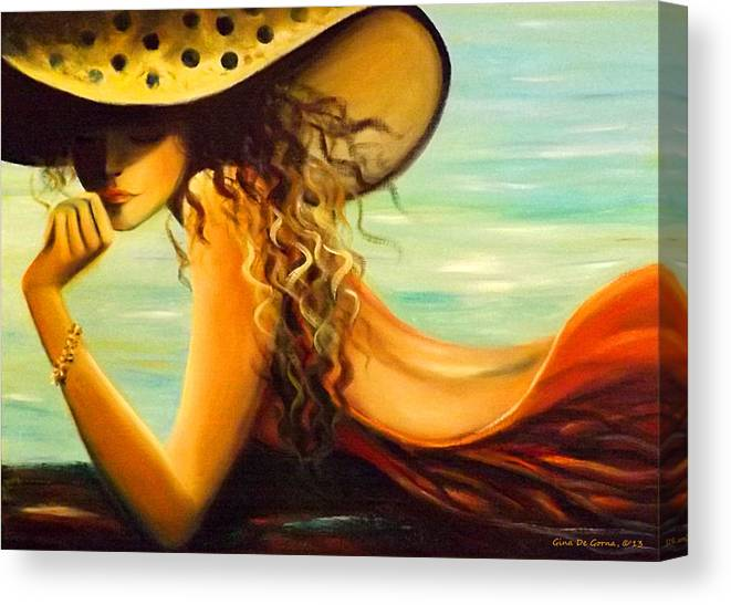 Hat Canvas Print featuring the painting Hmmmmmm by Gina De Gorna