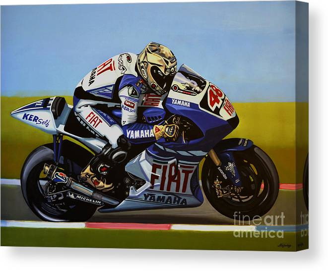 Jorge Lorenzo Canvas Print featuring the painting Jorge Lorenzo by Paul Meijering