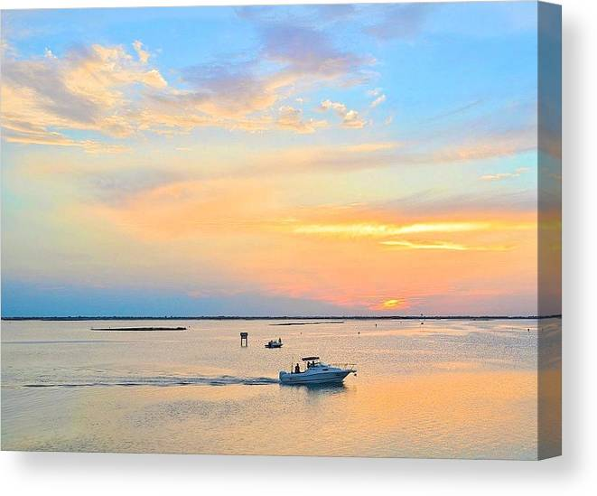 Corpus Christi Canvas Print featuring the photograph Laguna Madre Fishing At Sunset by Kristina Deane