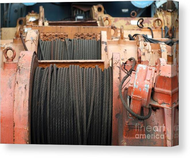 Winch Canvas Print featuring the photograph Large Winch With Steel Cable by Yali Shi