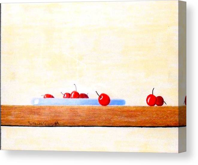 Cherries Canvas Print featuring the painting Lite Life by A Robert Malcom