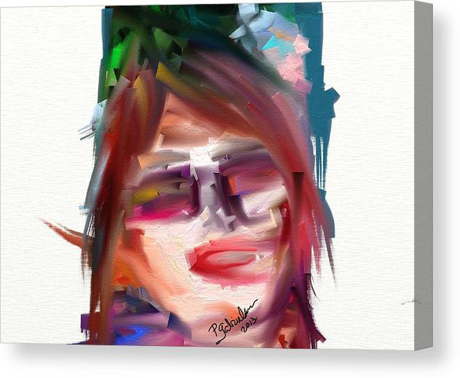 Self Portrait Canvas Print featuring the digital art Me Myself And Moi by Peggy Gabrielson