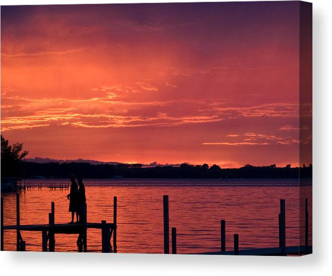 Lake Canvas Print featuring the photograph Okiboji Sunset by Lowell Monke