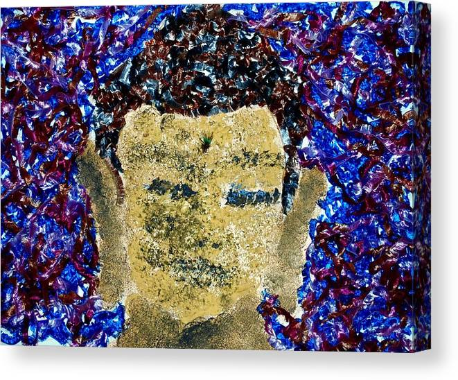 Buddha Canvas Print featuring the mixed media Peacock Buddha by Dorothy Berry-Lound