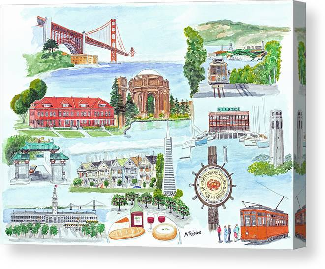 San Francisco Canvas Print featuring the painting San Francisco Highlights Montage by Mike Robles