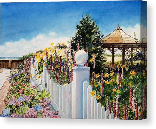 Ocean Canvas Print featuring the painting Sea Garden Walk by Phyllis London