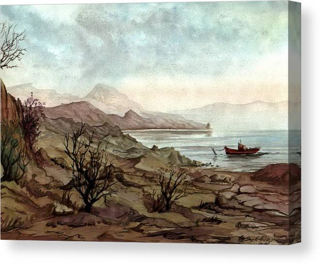 Seascape Canvas Print featuring the painting Shining by Mikhail Savchenko