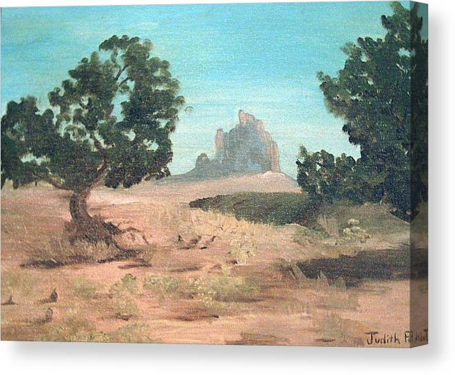 Mountain Canvas Print featuring the painting Ship Rock New Mexico by Judi Pence